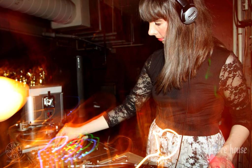 Kristin Archer DJing at Baltimore House. Photo by Julie Fazooli