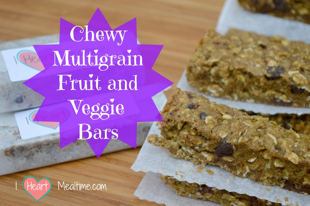 Delicious whole food fruit and veggie bars with whole grains and chocolate chips