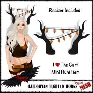 HalloweenLightedHornsSignMiniCartHunt