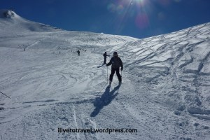 Skiing in Valle Nevado outside of Santiago, Chile