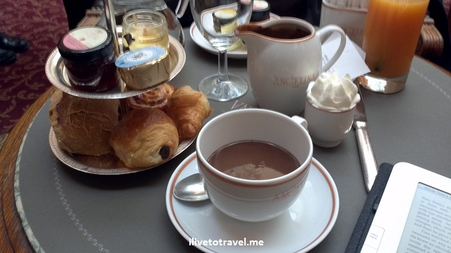 Paris, Angelina, hot chocolate, pain au chocolat, breakfast, food, Paris, France