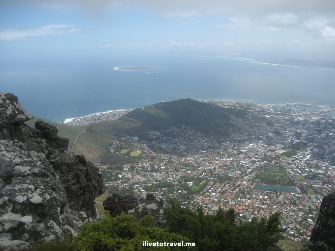 View from Table Mountain in Cape Town, South Africa with Robben Island