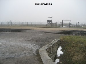 Train platform in Auschwitz-Birkenau concentration camp in Poland