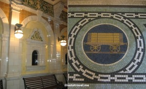 Mosaic and details of the railway station in Dunedin, New Zealand