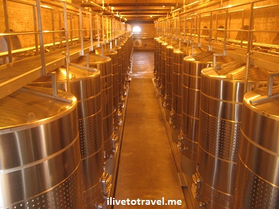 Wine tanks in Mendoza wineries in Argentina