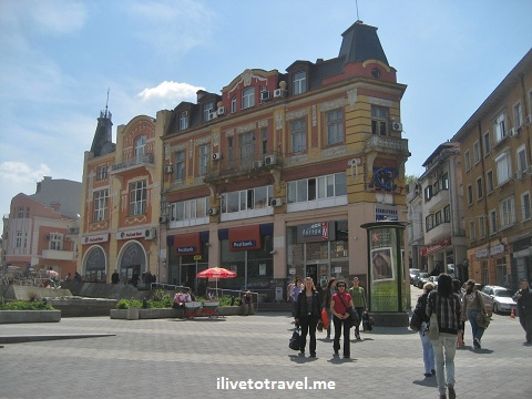 Pedestrian area in the center of Plovdiv, Bulgaria