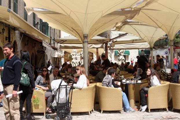 Lively café scene in Kotor, Montenegro