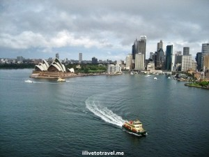 Sydney Harbor from Sydney Bridge, in Sydney, Australoa