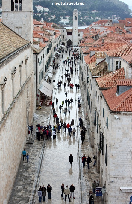 The Stradun in Dubrovnik from the Pila Gate