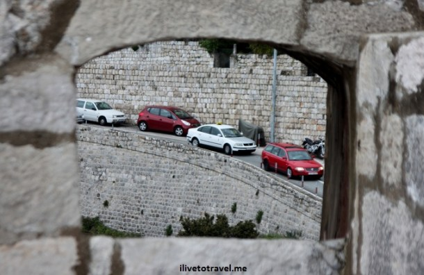 View through the city wall of Dubrovnik, Croatia
