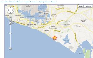 Map showing Mambo Beach, Curacao