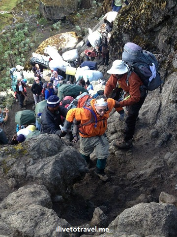 Climbing on the Barranco Wall in Kilimanjaro