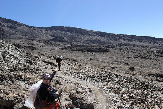 Rocky terrain on the Machame Route headed to Barafu Camp on Day 5 of the Kilimanjaro climb