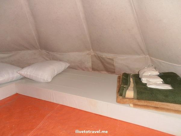 Inside of a tent in Camp Rummana in the Dana Biosphere Reserve Olympus