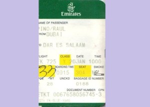 Boarding pass, Emirates Airlines, Dubai, Dar es Salaam
