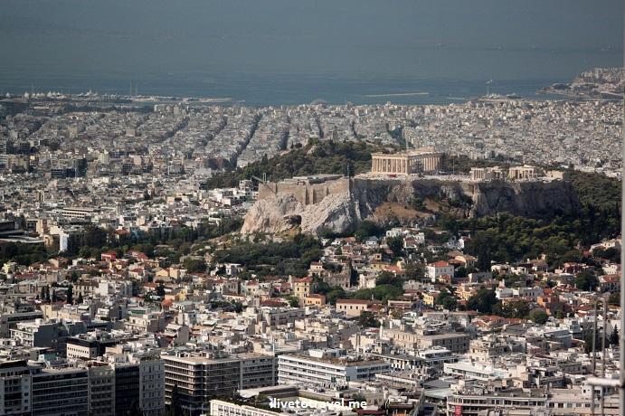 Athens, Greece, Lycabettus, Acropolis, Parthenon, vista, view, Canon EOS Rebel