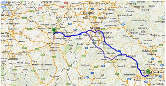 Maastricht, Frankfurt, drive, map, A3, A4, autobahn, Germany, travel