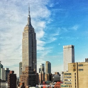 Empire State Building, New York City, NYC, Manhattan, blue sky, clouds, architecture