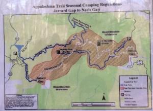map, Appalachian Trail, north Georgia mountains, hiking, trail, Blood Mountain, photos,Jarrard Gap