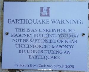California, Carmel Mission, earthquake, sign, warning, travel, photo