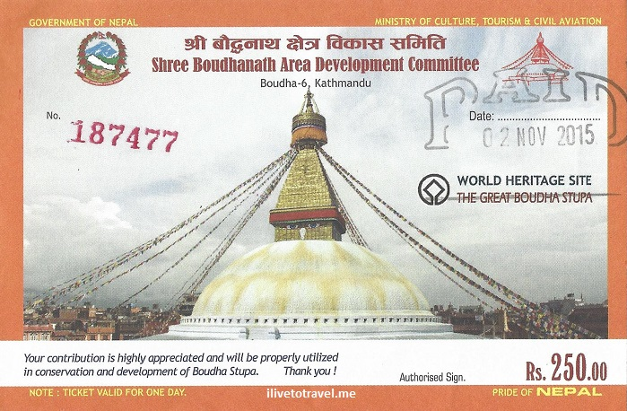 ticket, entrance pass, Great Boudha, stupa, Kathmandu, Nepal, Buddhist, Buddhism, travel, tourism