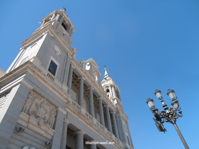 Cathedral, Madrid, Almudena, Spain, architecture, church, Catholic, facade, sky, Olympus