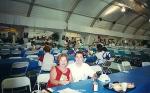 My wonderful Mom and I at the main cafeteria at the Village