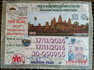 My pass to enter Angkor Wat; skillfully photo bombed by my friend Phil