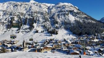 Lech, Vorarlberg, ski, skiing, Austria, lift, slope, snow, blue sky