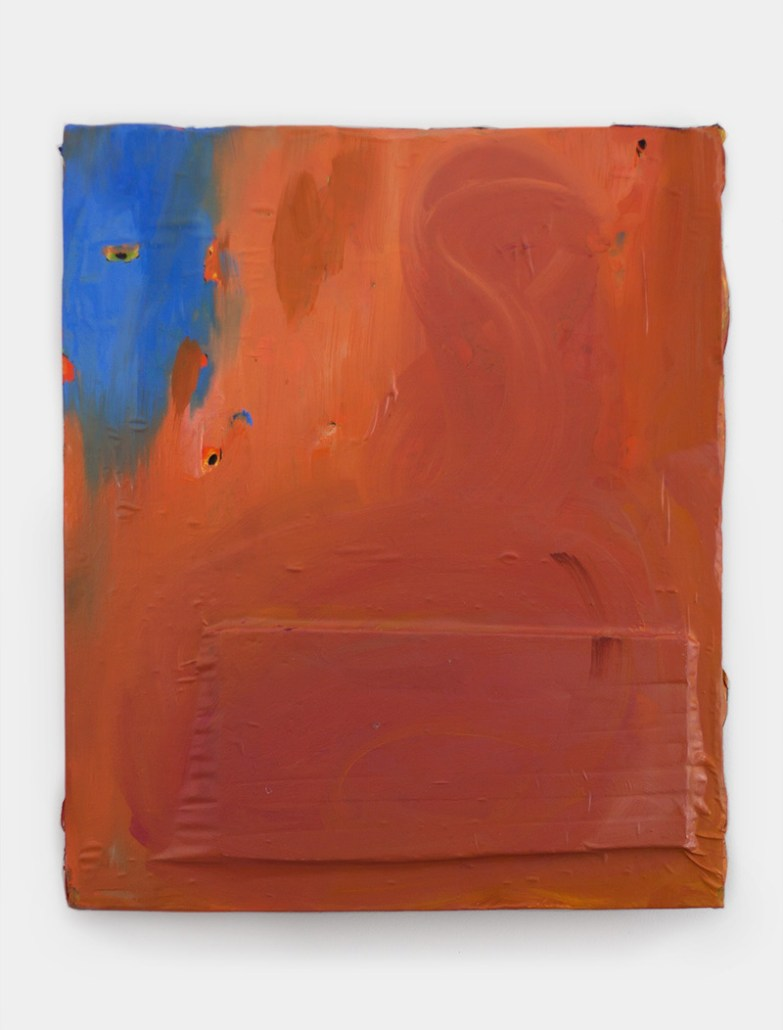 Untitled (orange cover), 60 x 51 cm, oil on found printed cloth, collaged to foam, 2016