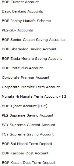 Products of Bank of Punjab