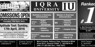 IQRA University Karachi Admissions 2016
