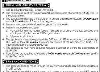 UET Lahore Scholarships For PH.D Abroad Under Faculty Development Program 2016