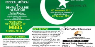 Federal Medical and Dental College Islamabad Entry Test Result 2013