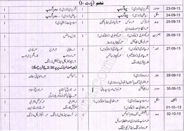Gujranwala board 9th class Supply Exam Date Sheet 2015