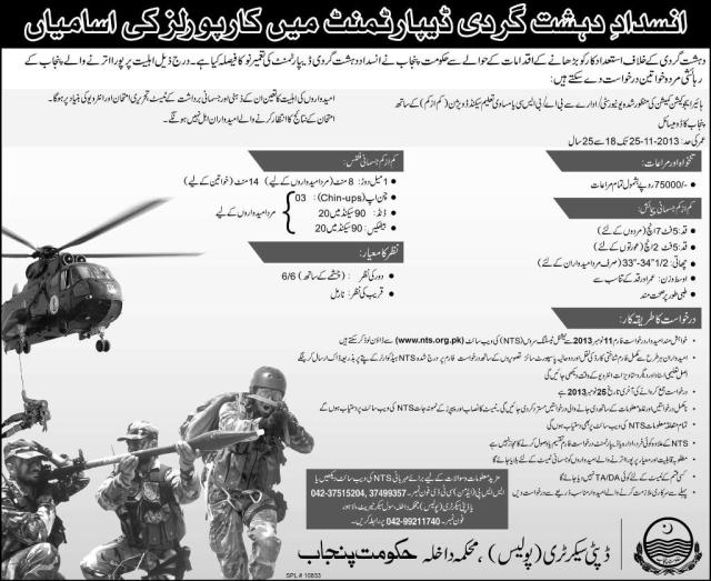 Anti Terrorist Force Jobs 2013 Online Form, Registration, Sample Paper