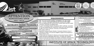 Institute of Space Technology Islamabad Admissions 2014