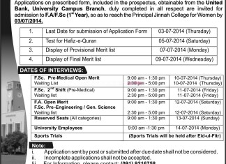 Jinnah College for Women Peshawar Admission Merit Lists 2014