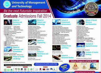 UMT Lahore Graduate Fall Admissions 2014 MBA, MS, PhD, MA
