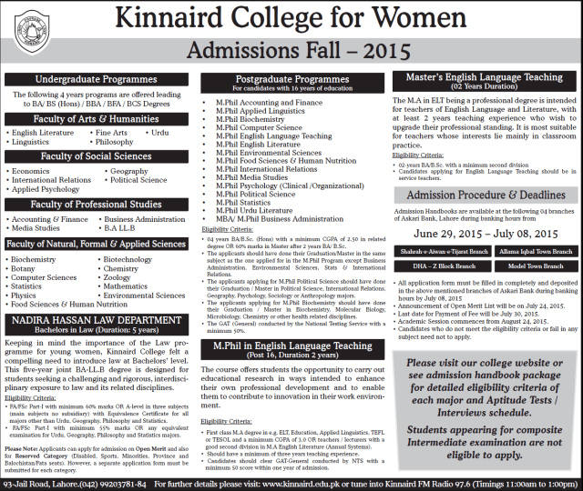 Kinnaird College for Women Admissions Fall 2015