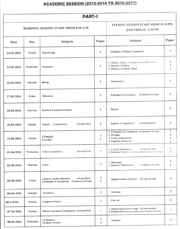 BISE Sahiwal Board Inter Part 1, 2 FA, FSc Date Sheet 2016_002