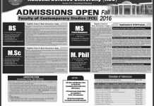 National Defence University Islamabad Fall Admissions 2016 Form