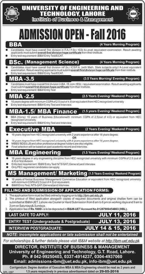 UET Institute of Business & Management IBM Lahore Admission 2016
