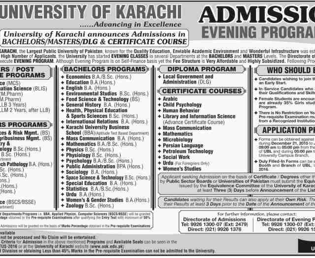 University Of Karachi UOK Evening Program Admission 2016