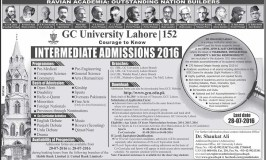 Government College GC University Lahore FSC Admissions 2016