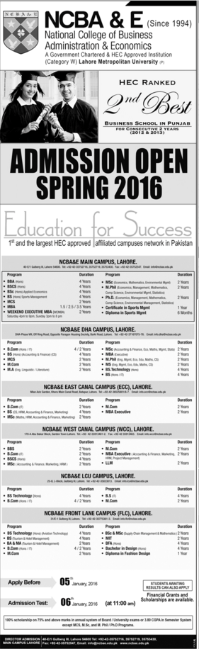NCBA&E Lahore Spring Admissions 2016