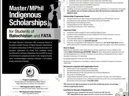 HEC Indigenous Scholarship 2016 Masters, MPhil Application Form Last Date
