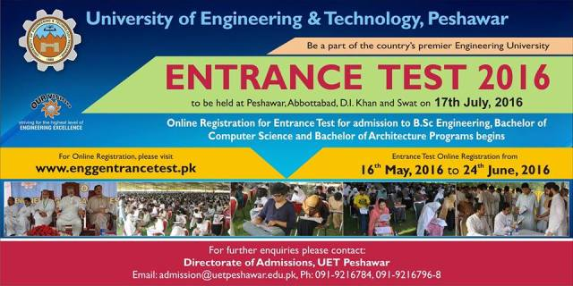 UET Peshawar Entry Test Date 2016 and Schedule Registration Form