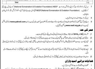Pakistan Railways PR Jobs 2016 NEEF Application Form Date, Advertisement