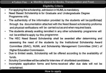 NUML University Islamabad Scholarships 2016 Download Application Form, Last Date
